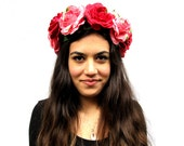 Pink and Red Velvet Rose Flower Crown - Rose Headband, Summer Floral Crown, Rose Headress, Headpiece, Floral Crown, Tiara, Frida Kahlo