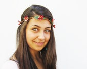 Daisy Headband - Deep Pink Wild Daisy Chain Headband, EDC NYC, Fairy Crown, Hippie Headband, Summer of Love.