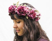 Reserved For Gloria - Plum Purple Rose and Mauve Pink Wildfower Hair Wreath. Sugar Plum Fairy, Fae, Faerie