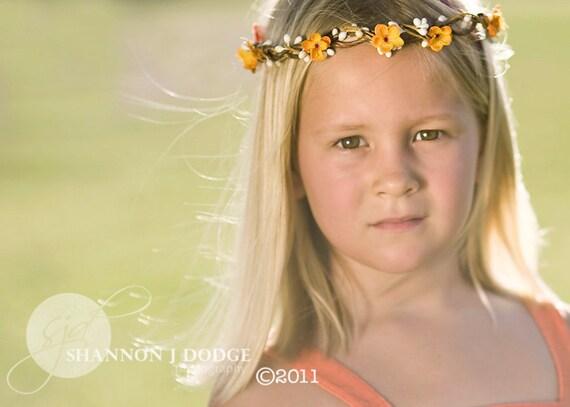 Reserved for Charlotte - Orange Blossom Flower Crown - Orange and Cream Berry Flower Crown, Flower Girl, Hippie Headband, Spring Fashion