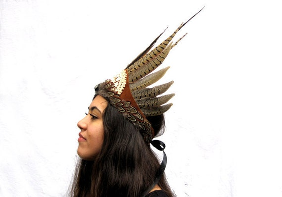 Tribal Feather Headdress - Bohemian Rustic Vintage Lace and Leather Crown, Festival Wear, Woodland Tribal Goddess, Fashion