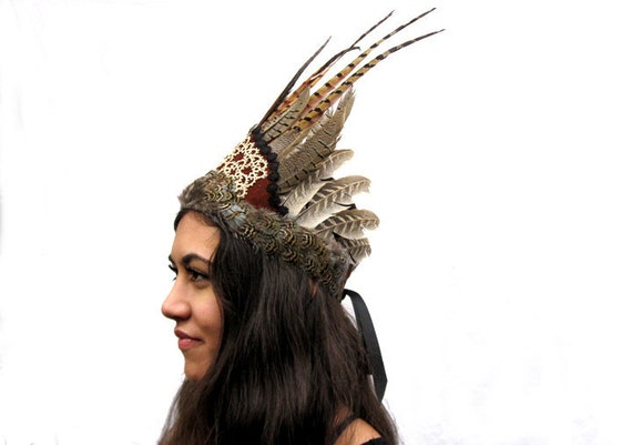 Tribal Feather Headdress - Hand Tatted Lace, Leather and Feather Boho Chic Gypsy Crown