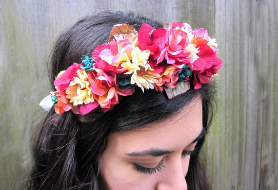 Flower Crown - Coral Pink, Butter and Teal Flower Hair Wreath, Prom Fashion, Flower Girl, Summertime