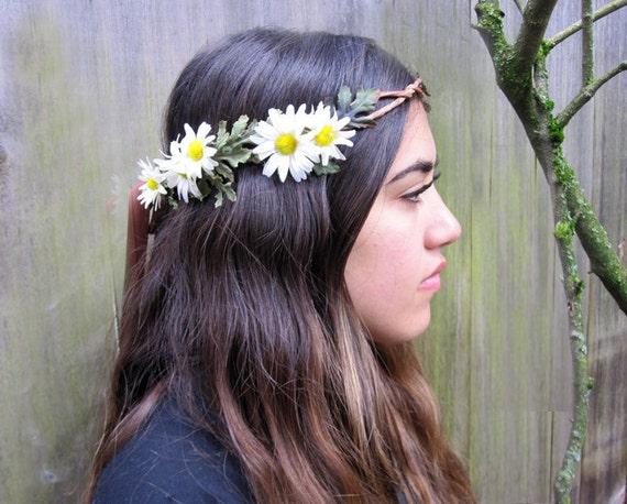 Daisy Head Wreath White Daisy Hippie Headband Flower Halo