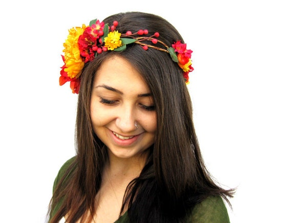 Red and Yellow Floral Crown - Mustard and Red Flower Hair Wreath - Bright Colors,  Music Festivals. Saffron, Fall Weddings, Fall Faerie