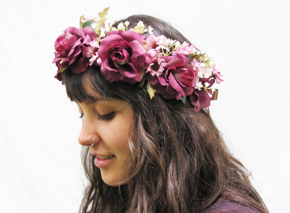 Reserved For Gloria - Plum Purple Rose and Mauve Pink Wildfower Hair Wreath. Sugar Plum Fairy, Fae, Faerie