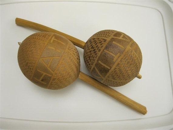 Vintage 50s Wooden Maracas From Haiti