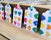 Rainbow Hearts UpCycled Valentine's Day Gift Tag Set