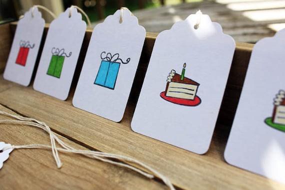 Cake and Presents Birthday Customizable Gift Tag Set