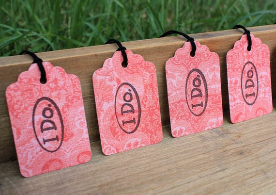 I Do -  Pink Wedding Gift Tag Wedding Favor Set