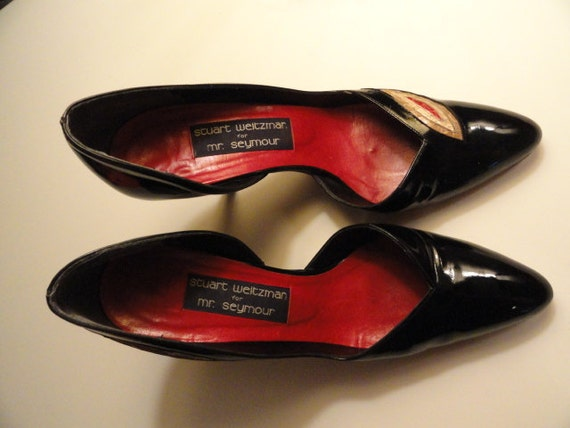Vintage 1980s Stuart Weitzman Patent Leather and Snakeskin Shoes 7N