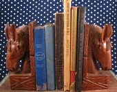 Vintage - Hand Carved Wooden Horse Head Bookends