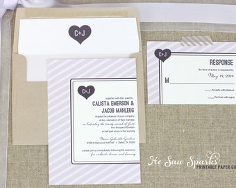 Printable Wedding Invitation - The Calista Stripe Suite