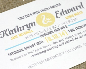 Printable Wedding Invitation - The Head Over Heels Collection