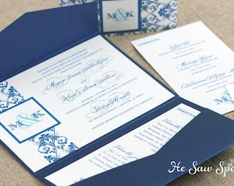 Damask Pocketfold Wedding Invitation - The Harmony Collection - Printable - DIY