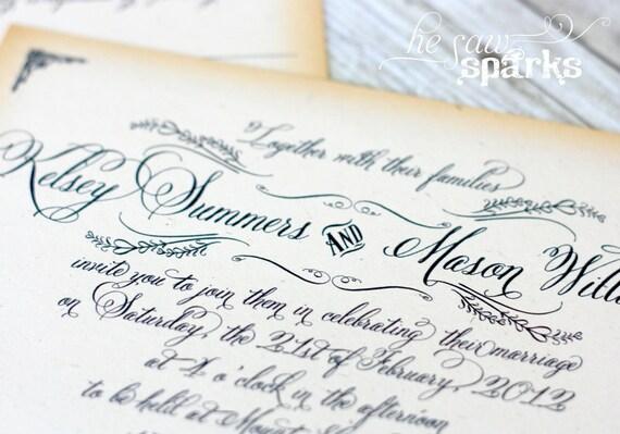 Vintage Wedding Invitation - Printable - DIY - The Kelsey Suite