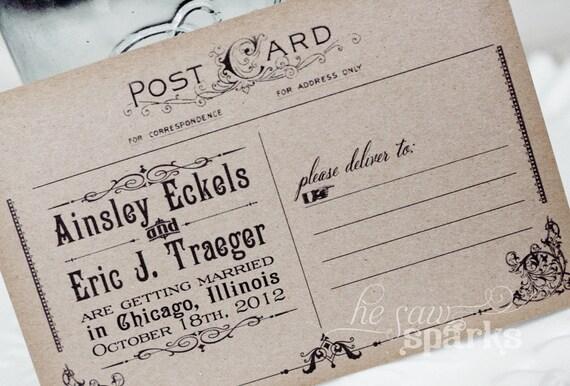 Vintage Postcard Save The Date - DIY - Printable