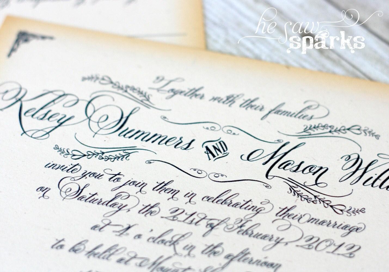 Vintage Wedding Invitation Templates Free: Vintage Wedding Invitation Printable DIY The Kelsey