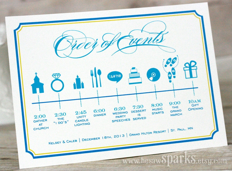 Custom Wedding Timeline Printable Diy By Hesawsparks On Etsy