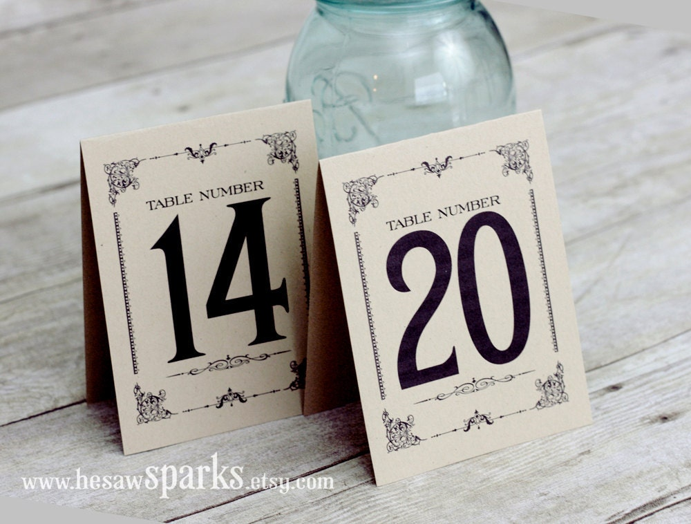 This is a photo of Comprehensive Free Printable Table Numbers 1-20