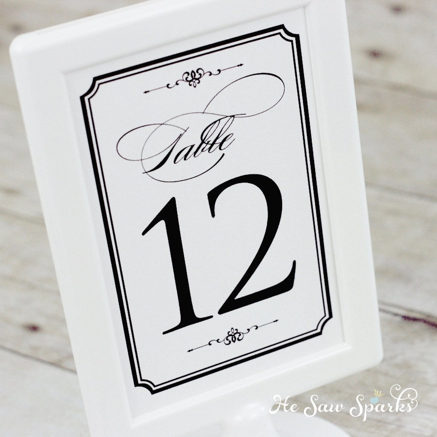 1 20 table numbers diy printable classic by hesawsparks on etsy for Wedding table numbers template