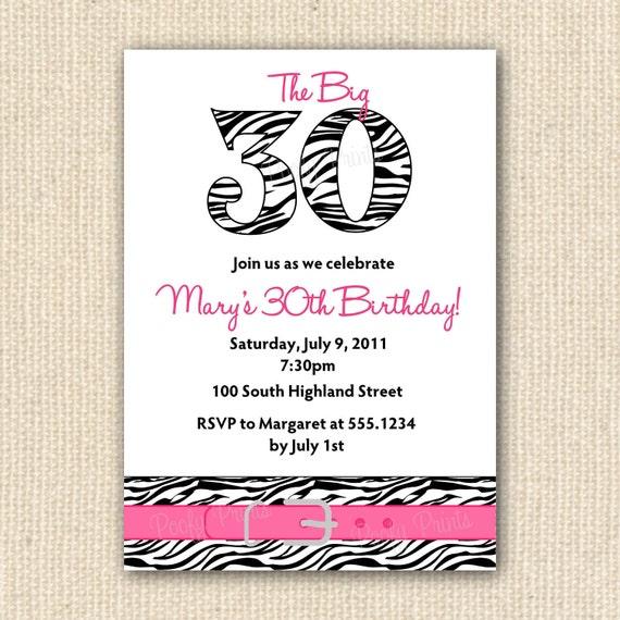 Items Similar To Zebra Print 30th Birthday Party