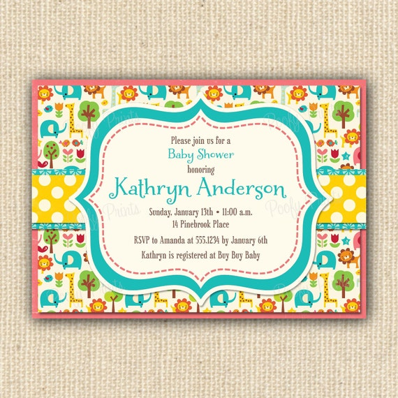 items similar to zoo animals baby shower invitations  diy, Baby shower invitation