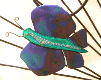 Fused Dichroic Glass Jewelry Pendant - Delightful Dichroic Butterfly with multicolored wings
