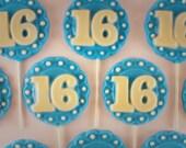 12 Sweet 16 Lollipops (Large)