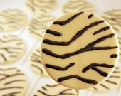 12 Large Round Zebra Print Chocolate Lollipops
