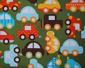 1 Fat Quarter Ready Set Go Green Cars by Ann Kelle for Robert Kaufman
