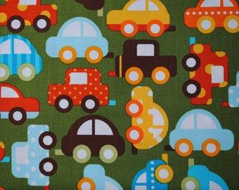 "LAST PIECE 1 Yard 32"" Ready Set Go Green Cars by Ann Kelle for Robert Kaufman"