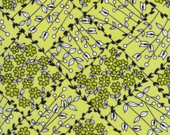 "SALE End of Bolt 1 Yard 33"" Lime Floral Vines from the Scribble Collection for Timeless Treasures"