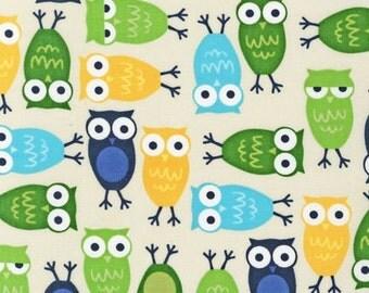 1 Fat Quarter of Urban Zoologie by Ann Kelle for Robert Kaufman, Blue Owls