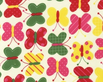 1 Yard - Urban Zoologie by Ann Kelle for Robert Kaufman, Bright Red/Pink Butterflies