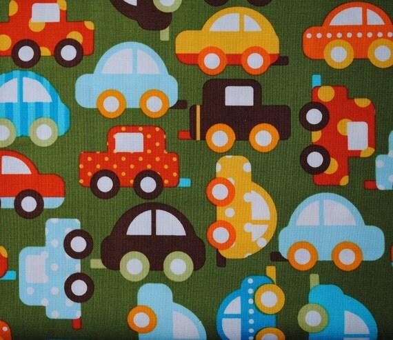 Ready Set Go Green Cars by Ann Kelle for Robert Kaufman