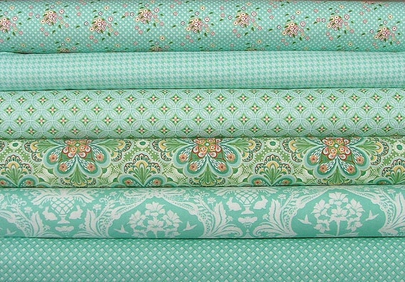 LAST ONE Fat Quarter Bundle of Flora in Teal  by Lauren and Jessi Jung for Moda
