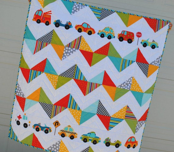 Chevron Cars Quilt Kit featuring Peak Hour Fabrics by  Kellie Wulfsohn for Riley Blake