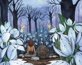 Snowdrops and Shooting Star, whimsical fairy fantasy elf hedgehog twilight  illustration, childrens wall art