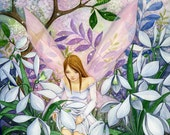 Snowdrop Dew- signed archival print- Spring flower Fairy Fantasy Art by Joanna Bromley
