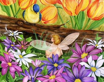 Spring Greetings original fantasy painting