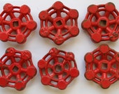 Set of 6 Super Patina Red Steel Vintage Valve Handles