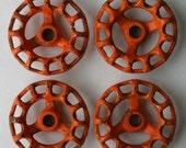 Set of 4 Super Patina  Orange  Steel Vintage Faucet  Handles