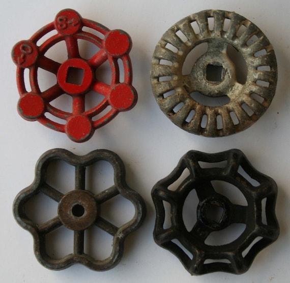 4 Vintage Industrial Valve Handles-Sweet Little Batch