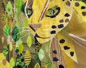 jungle cat recycled paper collage 8x10 art print