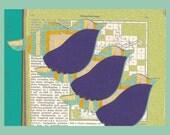 vintage swedish encyclopedia birds triangle 8x10 art print