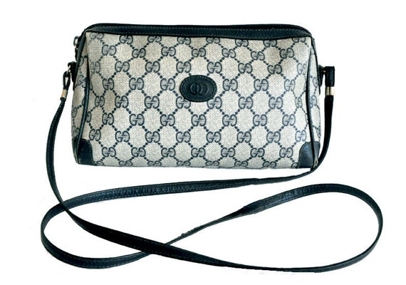 Sale Reduced Price Authentic Navy Blue Gucci Canvas Monogram GG Shoulder bag Made In Italy