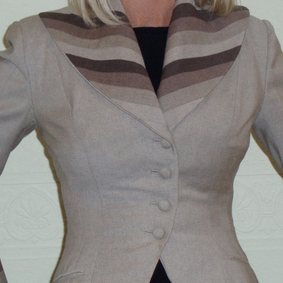 Sale Vintage 1940s-50s Lilli Ann  felted Wool Suit Jacket Fitted Peplum Ombre Inlay Collar Outstanding  xsmall small 0,2,4