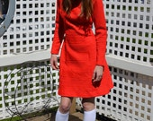 60s mod red high neck long sleeve scooter dress