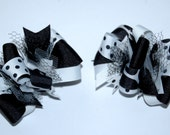 Funky Loopy Pigtail Bows - Set of 2 - Black & White ////FREE shipping over 20 dollars////